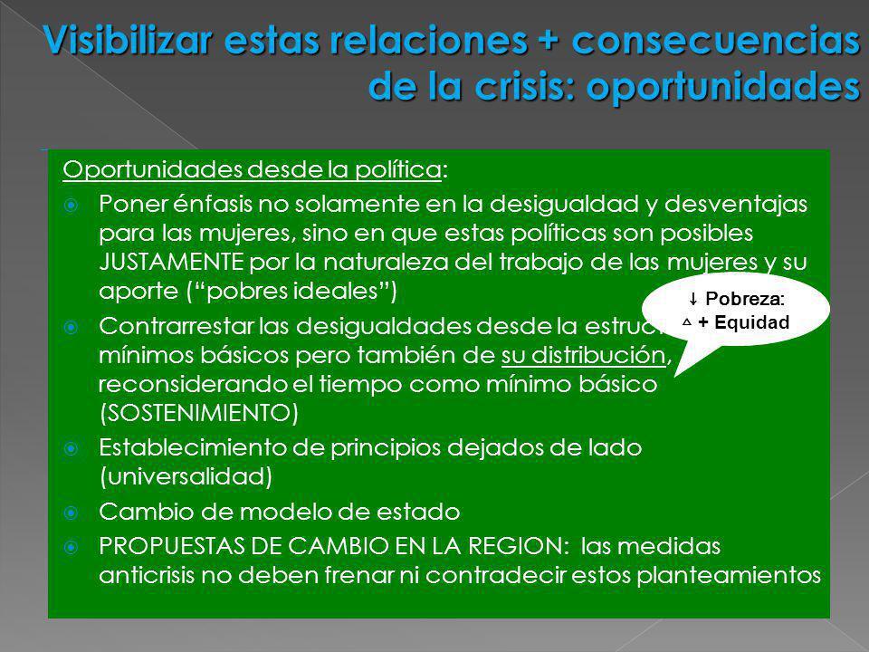 Visibilizar estas relaciones + consecuencias de la crisis: oportunidades