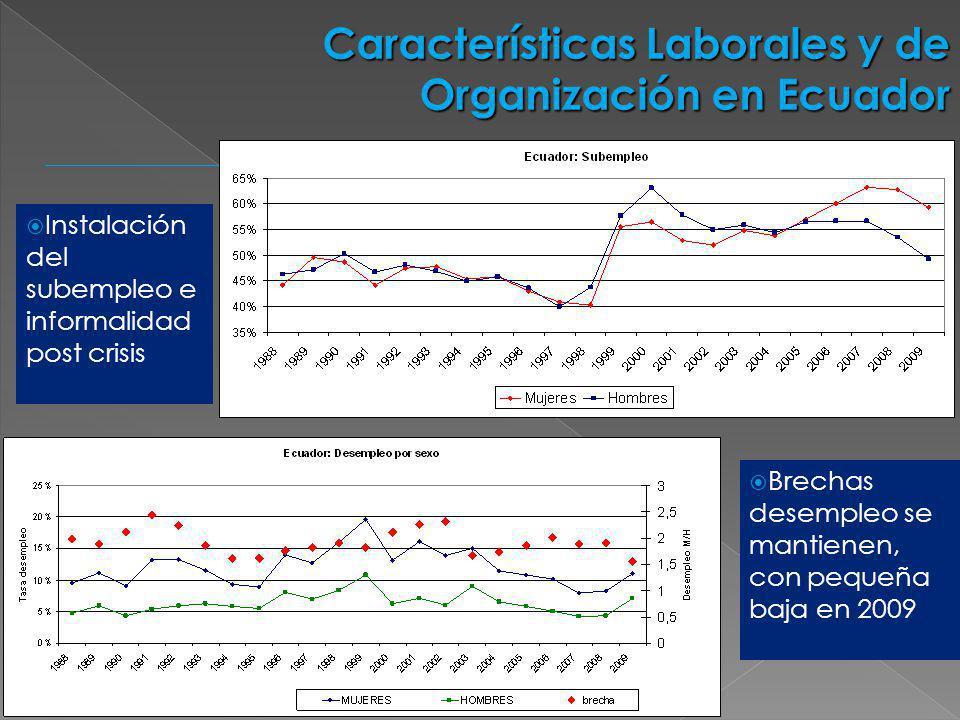 Características Laborales y de Organización en Ecuador