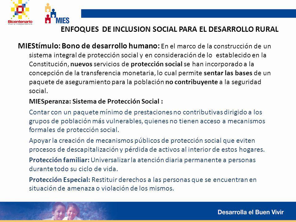 ENFOQUES DE INCLUSION SOCIAL PARA EL DESARROLLO RURAL