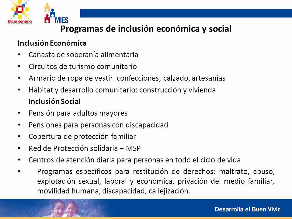 Programas de inclusión económica y social