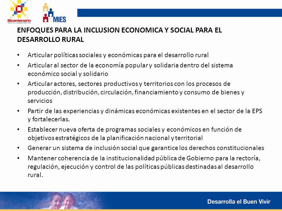 ENFOQUES PARA LA INCLUSION ECONOMICA Y SOCIAL PARA EL DESARROLLO RURAL