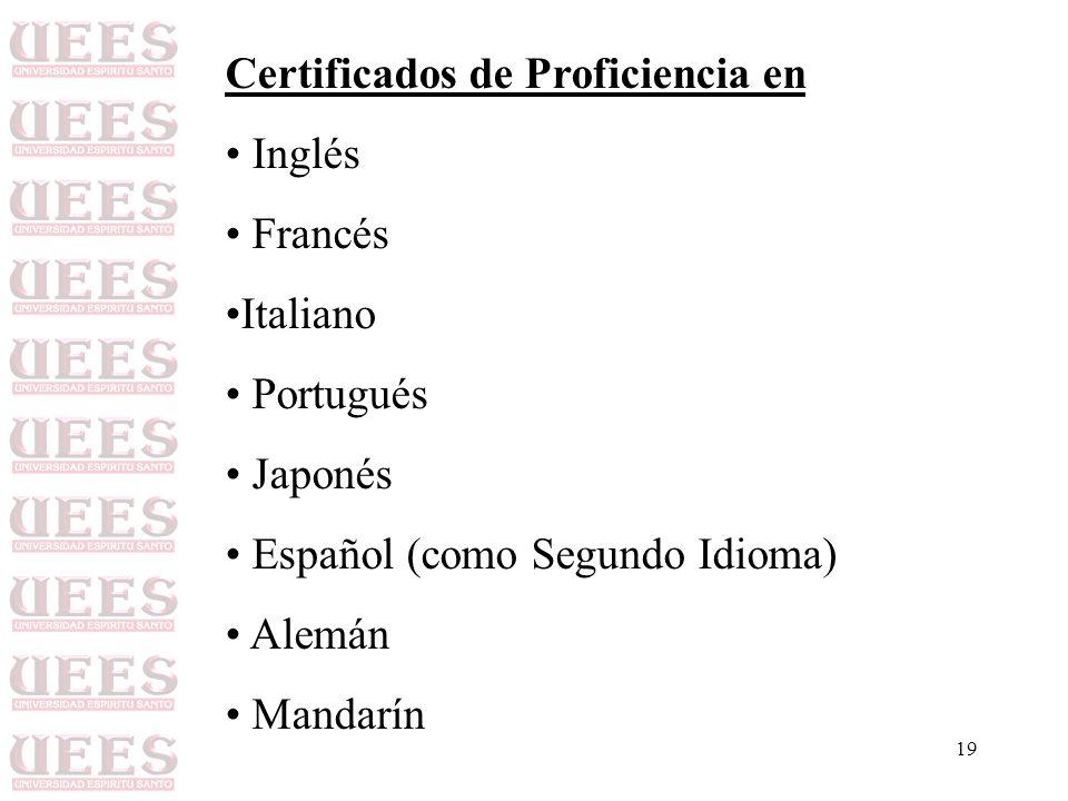 Certificados de Proficiencia en