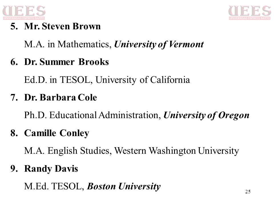 Mr. Steven Brown M.A. in Mathematics, University of Vermont. Dr. Summer Brooks. Ed.D. in TESOL, University of California.