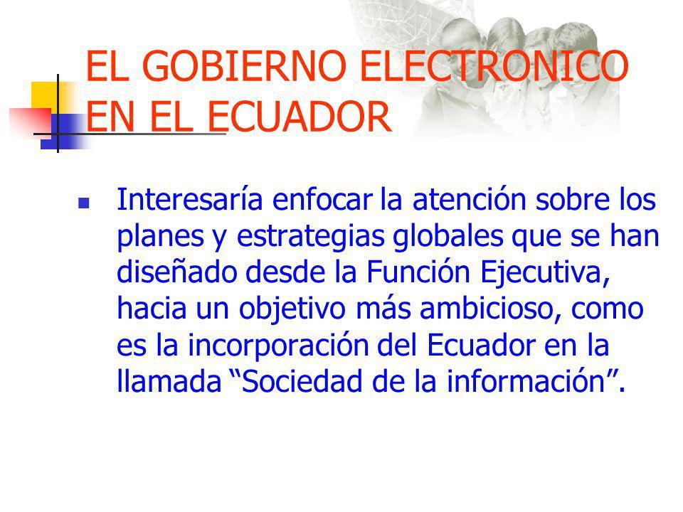 EL GOBIERNO ELECTRONICO EN EL ECUADOR