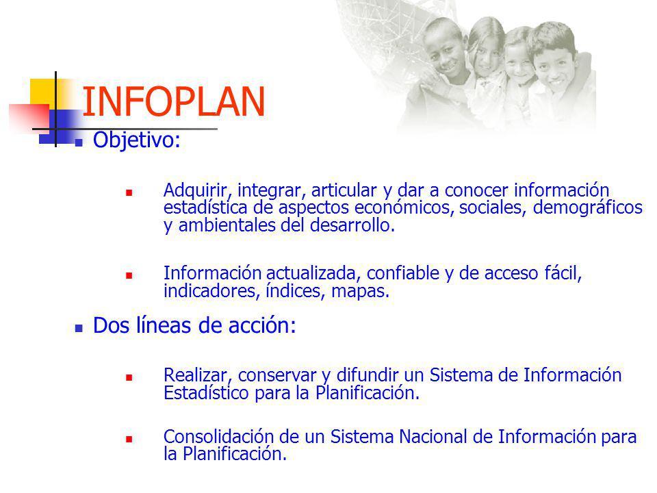 INFOPLAN Objetivo: Dos líneas de acción: