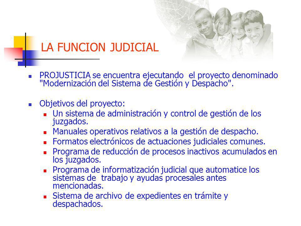 LA FUNCION JUDICIAL PROJUSTICIA se encuentra ejecutando el proyecto denominado Modernización del Sistema de Gestión y Despacho .