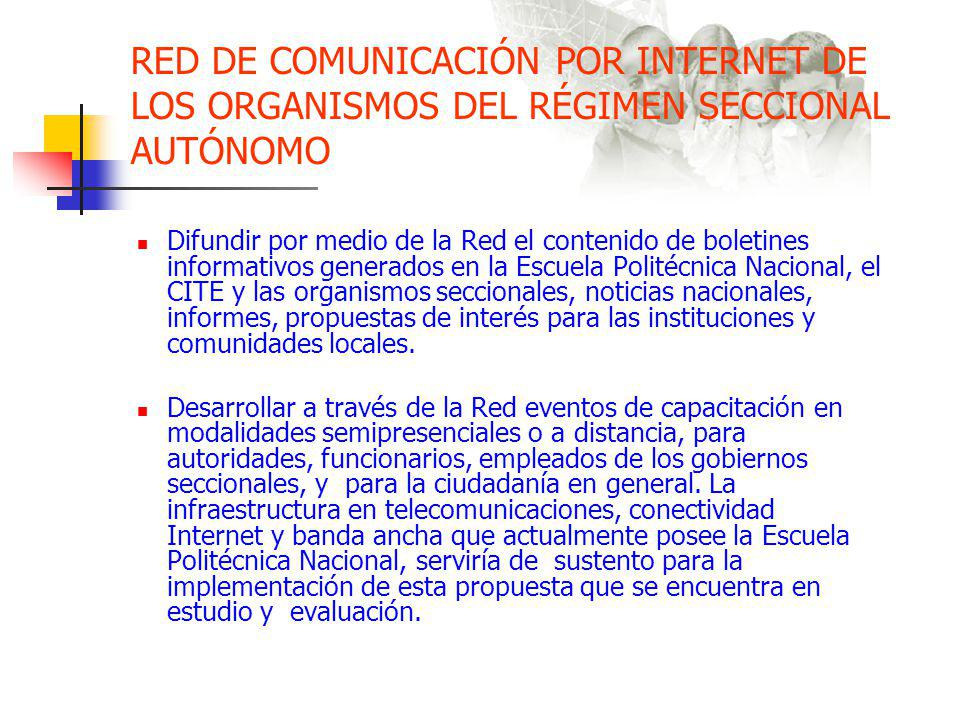 RED DE COMUNICACIÓN POR INTERNET DE LOS ORGANISMOS DEL RÉGIMEN SECCIONAL AUTÓNOMO