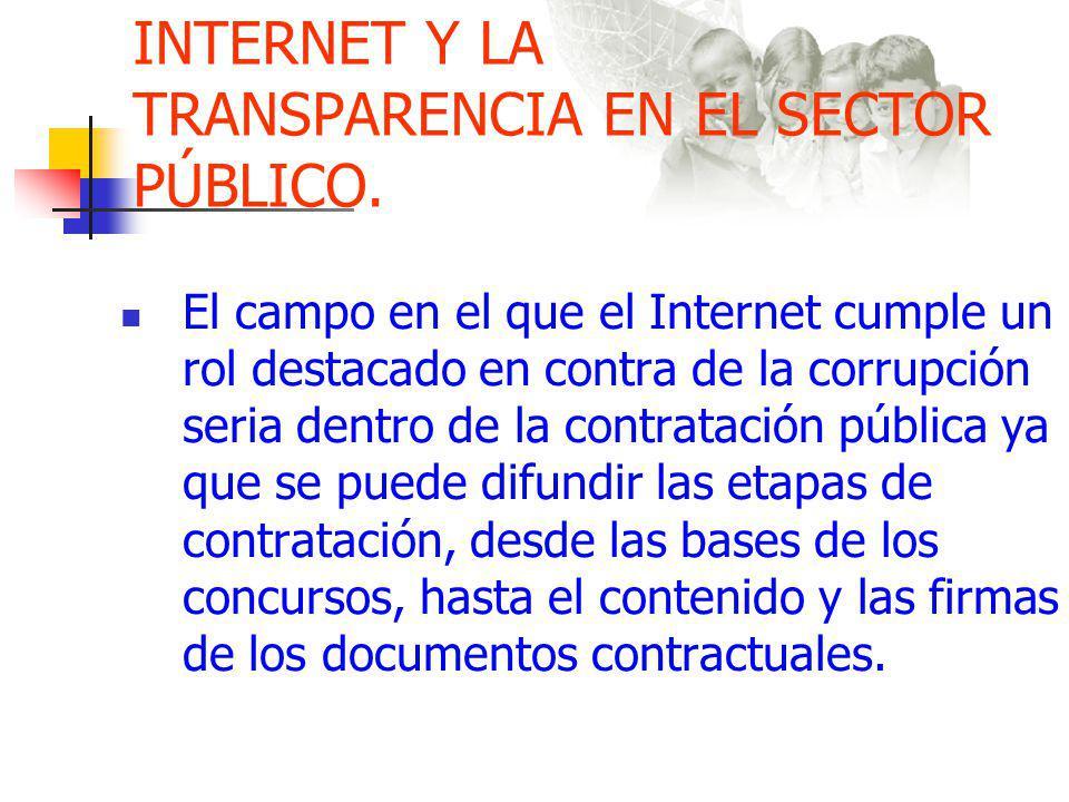 INTERNET Y LA TRANSPARENCIA EN EL SECTOR PÚBLICO.