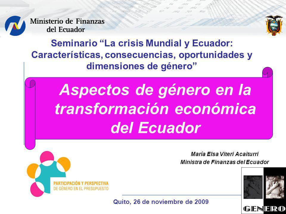 Aspectos de género en la transformación económica del Ecuador