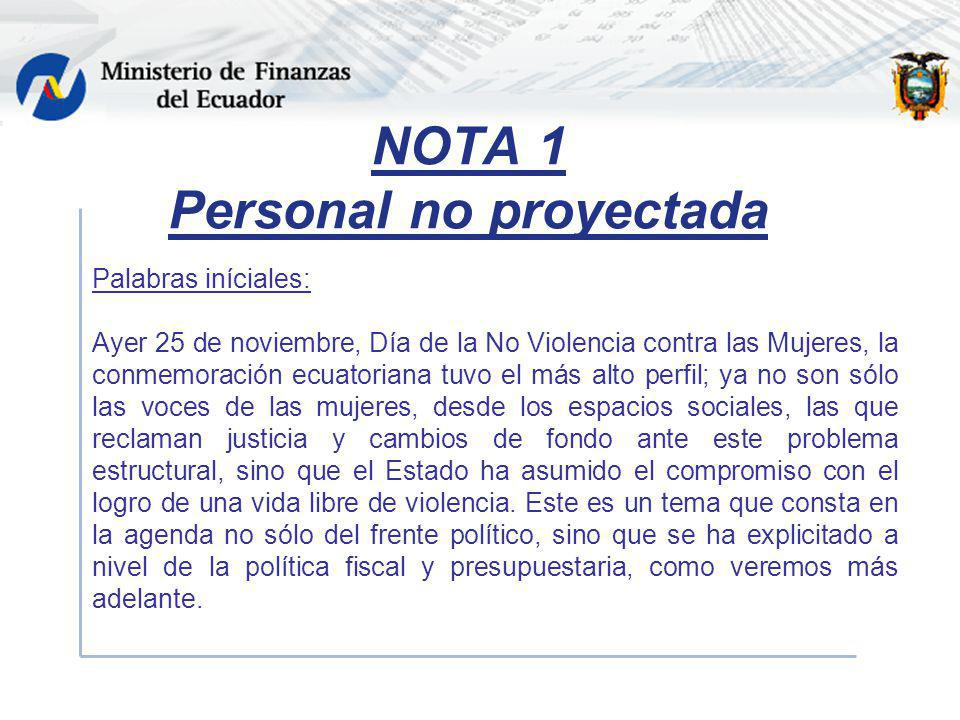 NOTA 1 Personal no proyectada