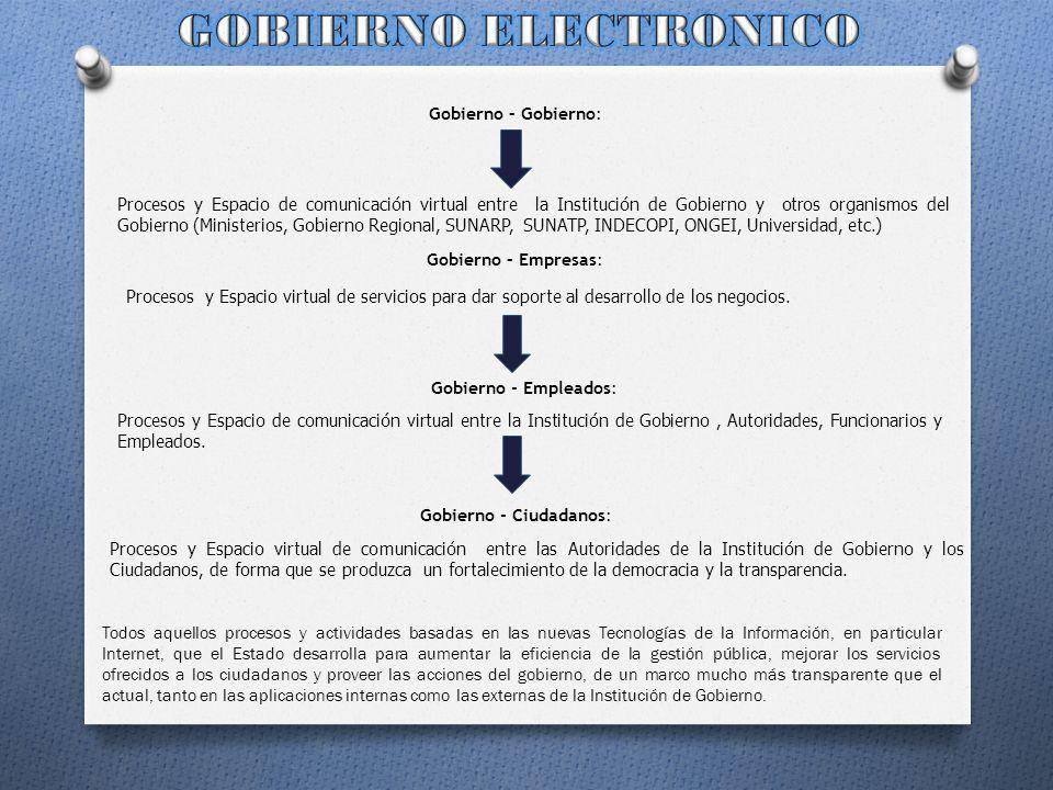 GOBIERNO ELECTRONICO Gobierno – Gobierno: