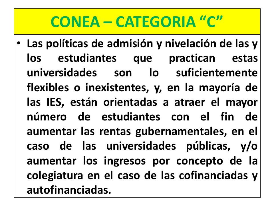 CONEA – CATEGORIA C