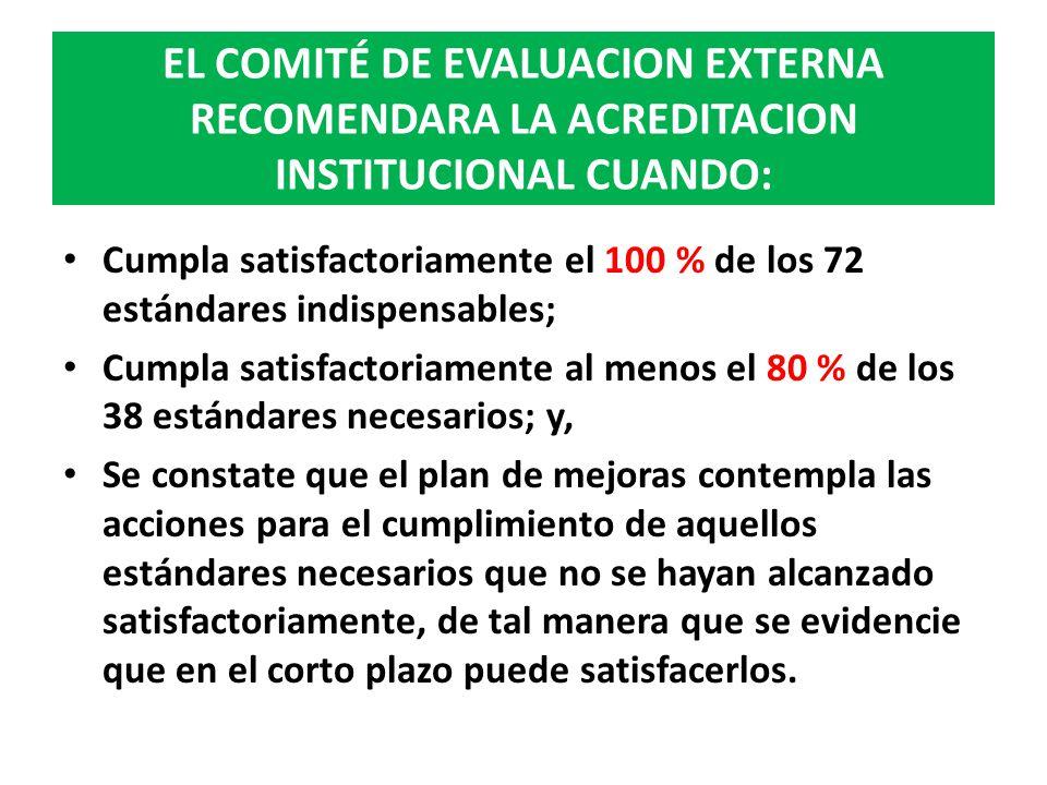 EL COMITÉ DE EVALUACION EXTERNA RECOMENDARA LA ACREDITACION INSTITUCIONAL CUANDO: