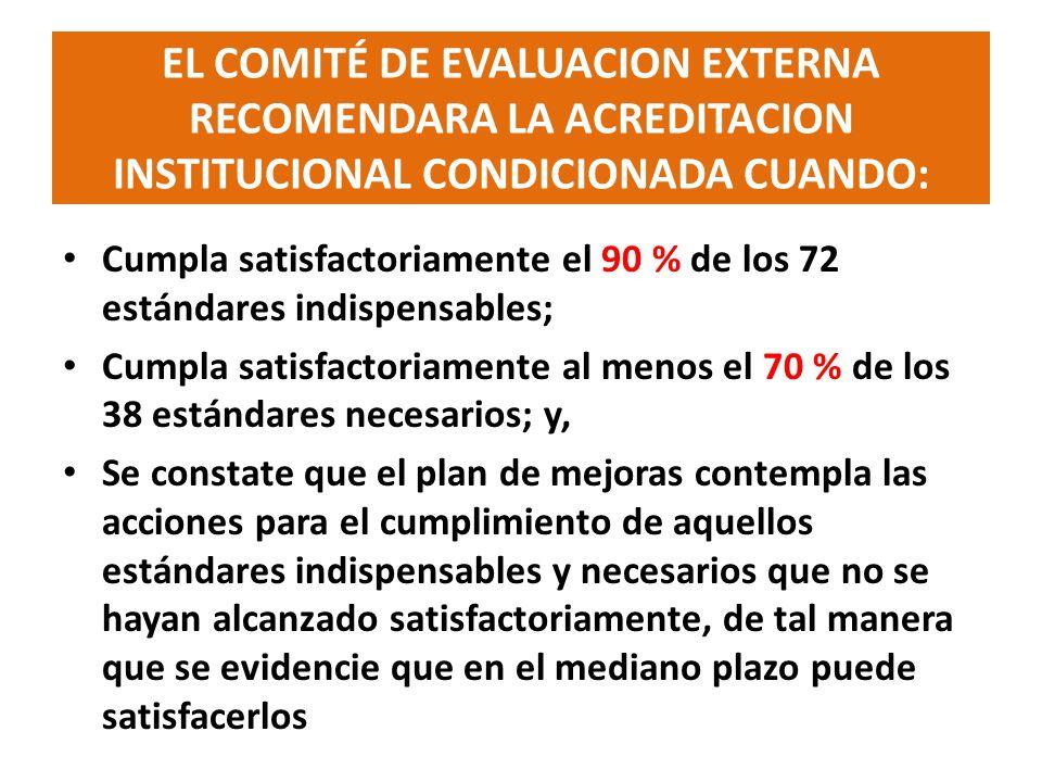 EL COMITÉ DE EVALUACION EXTERNA RECOMENDARA LA ACREDITACION INSTITUCIONAL CONDICIONADA CUANDO: