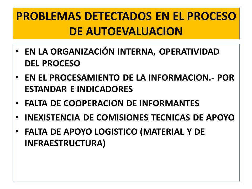 PROBLEMAS DETECTADOS EN EL PROCESO DE AUTOEVALUACION