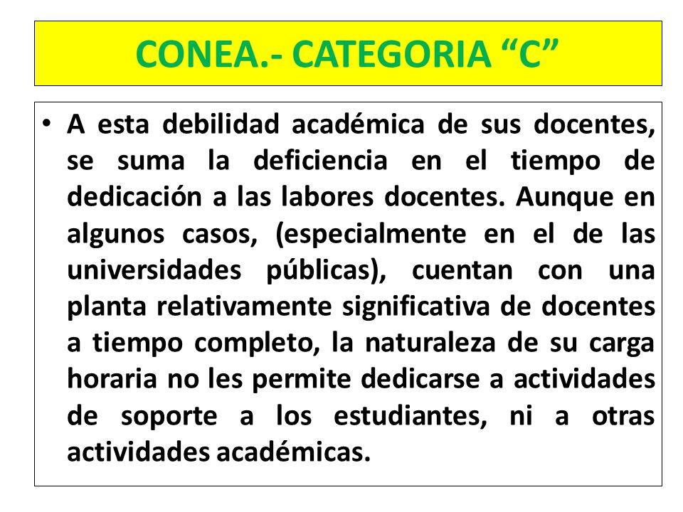 CONEA.- CATEGORIA C