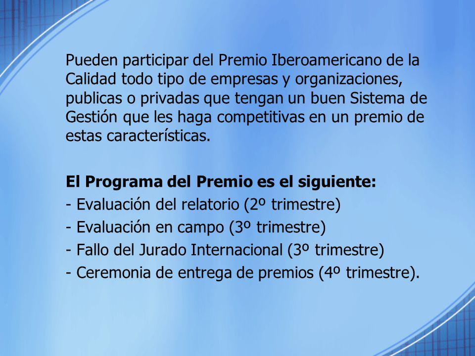 Pueden participar del Premio Iberoamericano de la Calidad todo tipo de empresas y organizaciones, publicas o privadas que tengan un buen Sistema de Gestión que les haga competitivas en un premio de estas características.