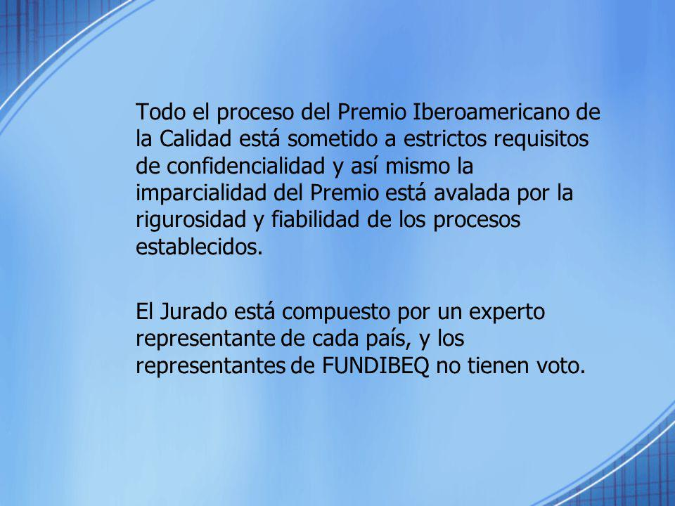 Todo el proceso del Premio Iberoamericano de la Calidad está sometido a estrictos requisitos de confidencialidad y así mismo la imparcialidad del Premio está avalada por la rigurosidad y fiabilidad de los procesos establecidos.