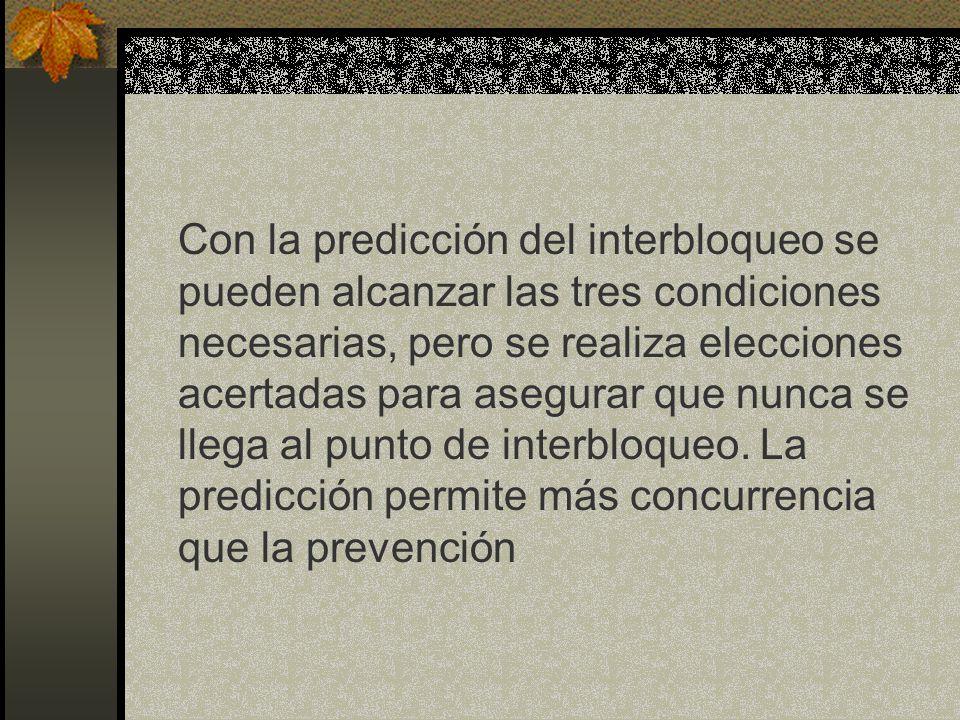 Con la predicción del interbloqueo se pueden alcanzar las tres condiciones necesarias, pero se realiza elecciones acertadas para asegurar que nunca se llega al punto de interbloqueo.