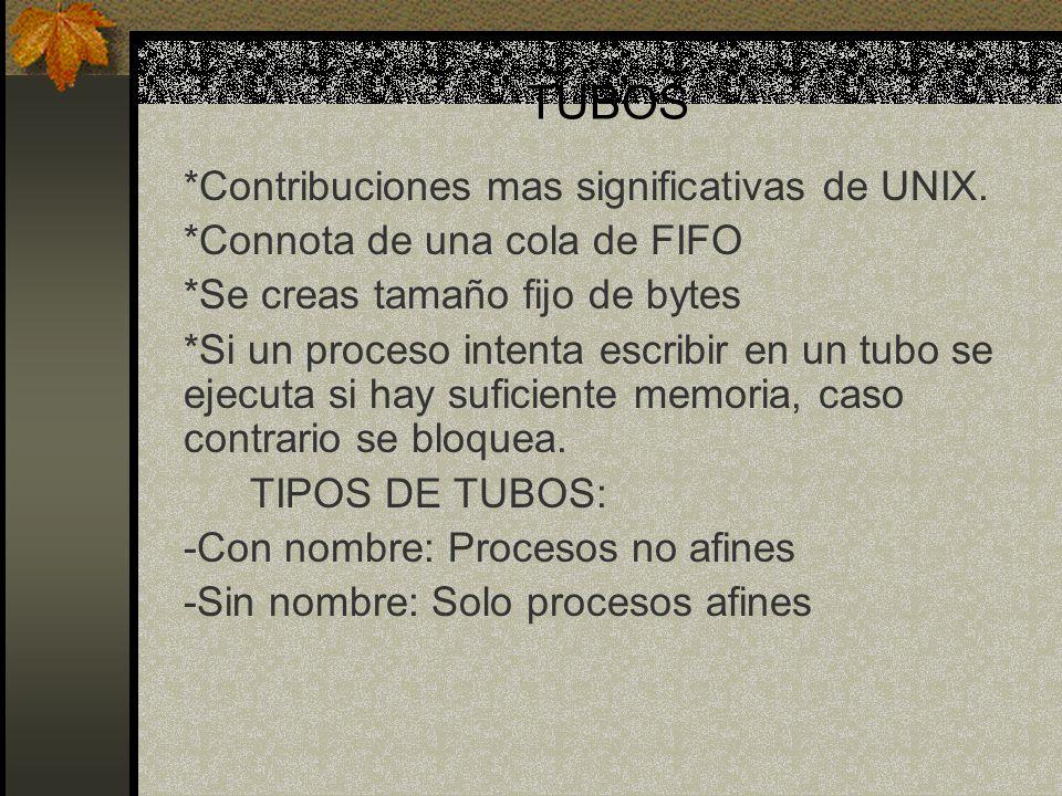 TUBOS *Contribuciones mas significativas de UNIX.