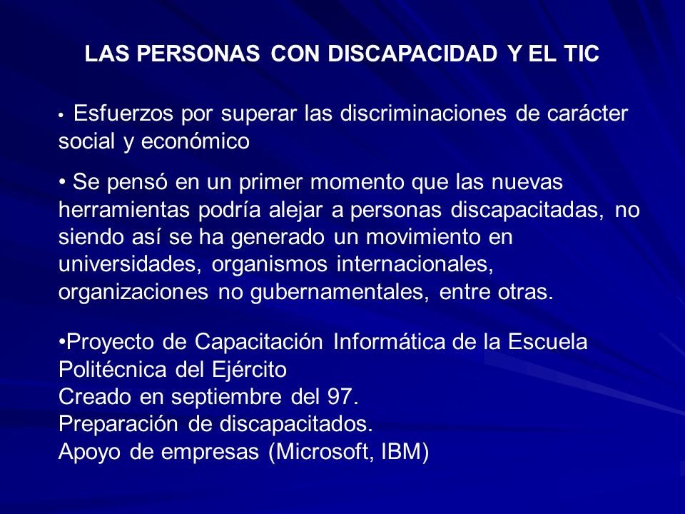 LAS PERSONAS CON DISCAPACIDAD Y EL TIC