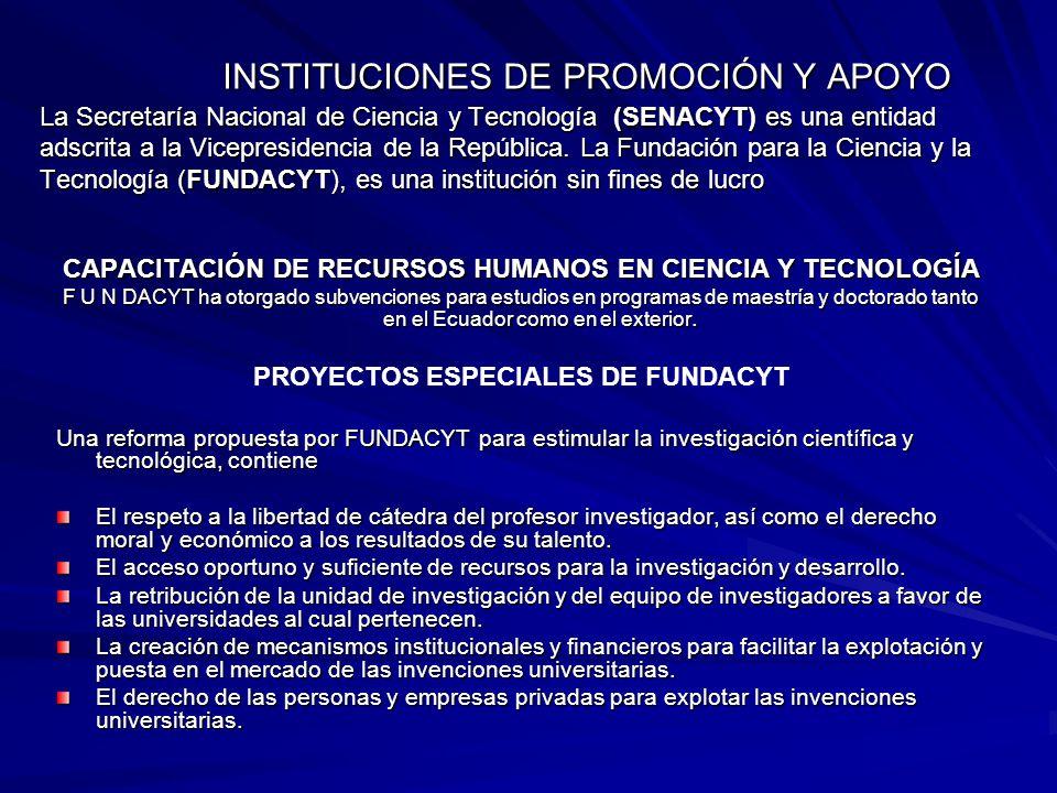 INSTITUCIONES DE PROMOCIÓN Y APOYO La Secretaría Nacional de Ciencia y Tecnología (SENACYT) es una entidad adscrita a la Vicepresidencia de la República. La Fundación para la Ciencia y la Tecnología (FUNDACYT), es una institución sin fines de lucro