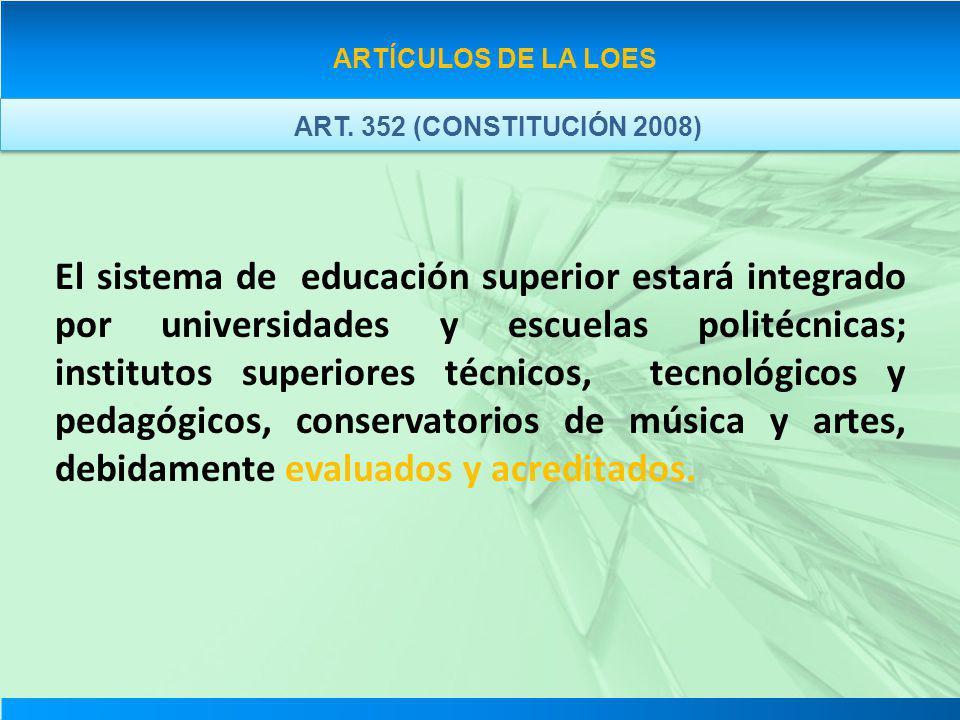 ARTÍCULOS DE LA LOES ART. 352 (CONSTITUCIÓN 2008)