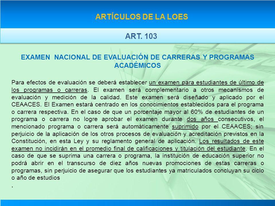 EXAMEN NACIONAL DE EVALUACIÓN DE CARRERAS Y PROGRAMAS ACADÉMICOS