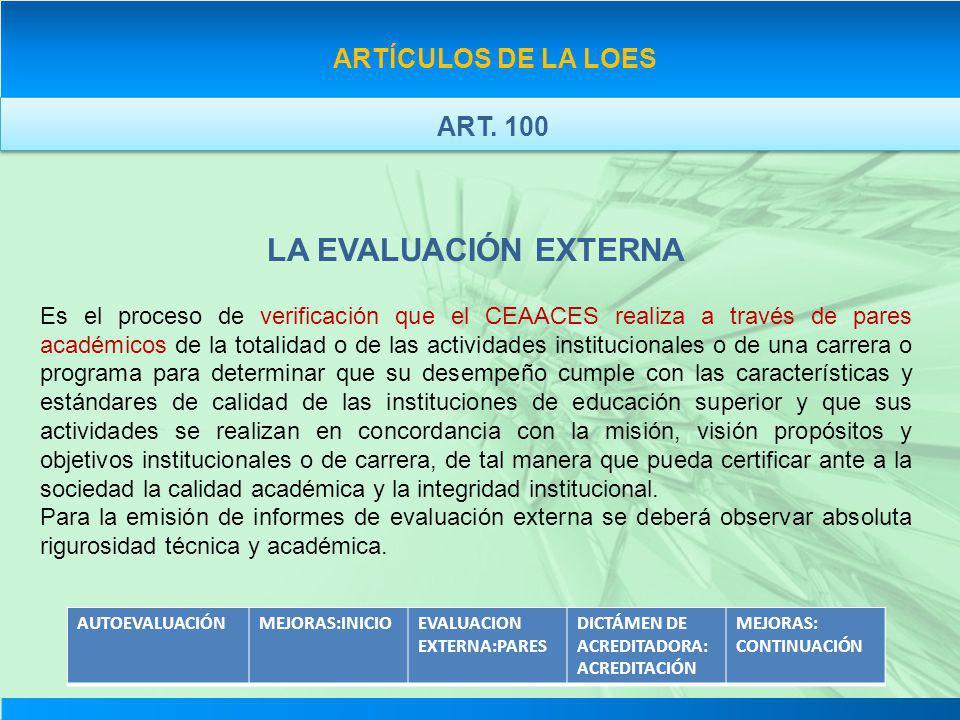 LA EVALUACIÓN EXTERNA ARTÍCULOS DE LA LOES ART. 100