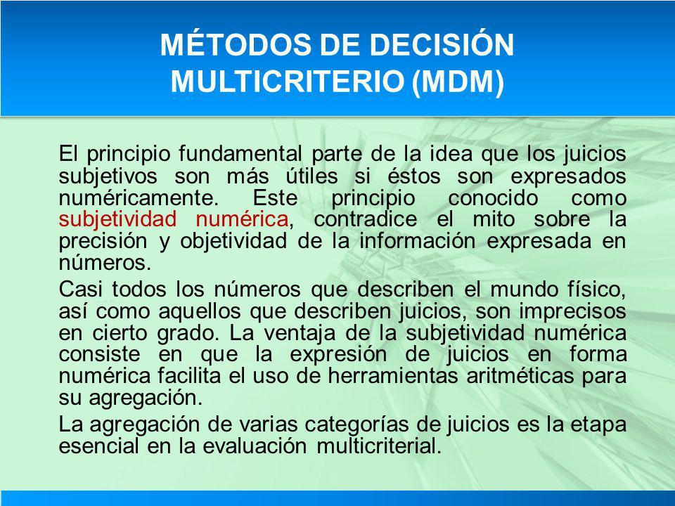 MÉTODOS DE DECISIÓN MULTICRITERIO (MDM)