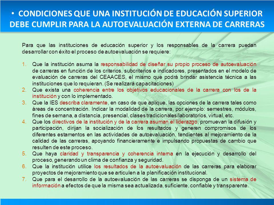 CONDICIONES QUE UNA INSTITUCIÓN DE EDUCACIÓN SUPERIOR DEBE CUMPLIR PARA LA AUTOEVALUACIÓN EXTERNA DE CARRERAS