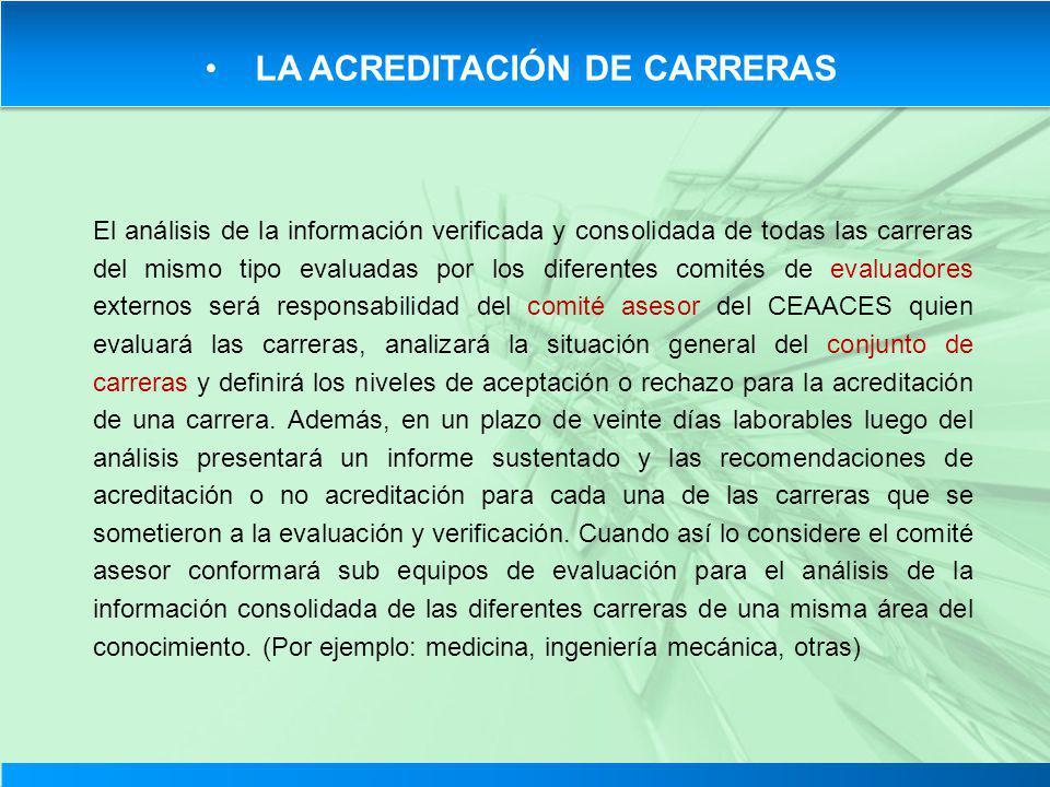 LA ACREDITACIÓN DE CARRERAS