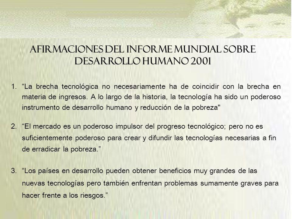 AFIRMACIONES DEL INFORME MUNDIAL SOBRE DESARROLLO HUMANO 2001