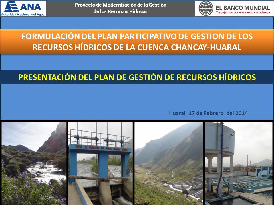 PRESENTACIÓN DEL PLAN DE GESTIÓN DE RECURSOS HÍDRICOS