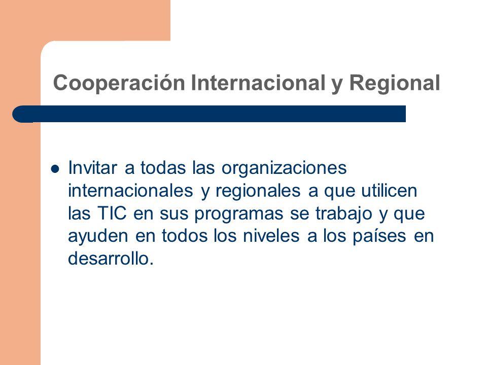 Cooperación Internacional y Regional