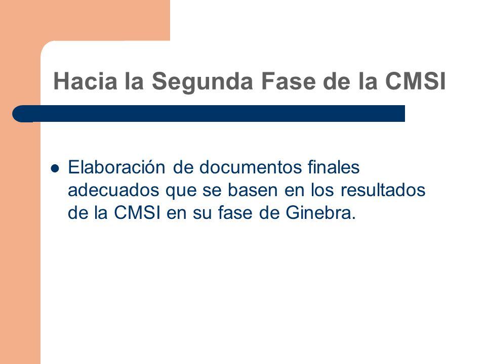 Hacia la Segunda Fase de la CMSI