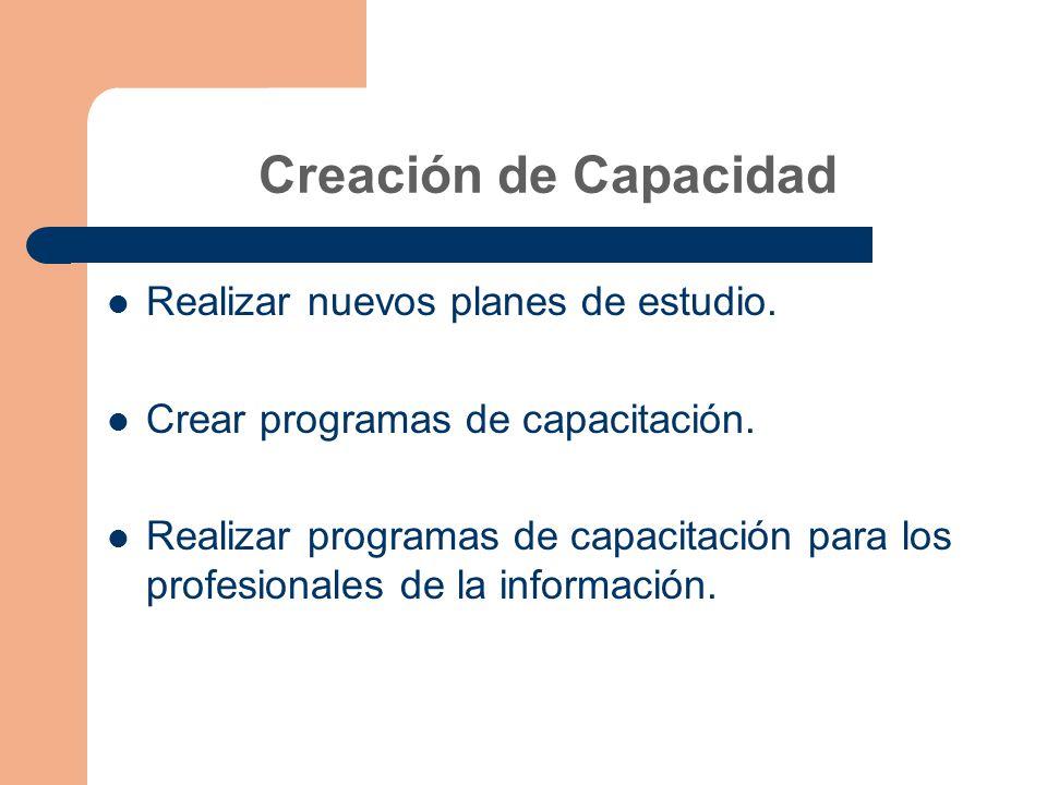 Creación de Capacidad Realizar nuevos planes de estudio.