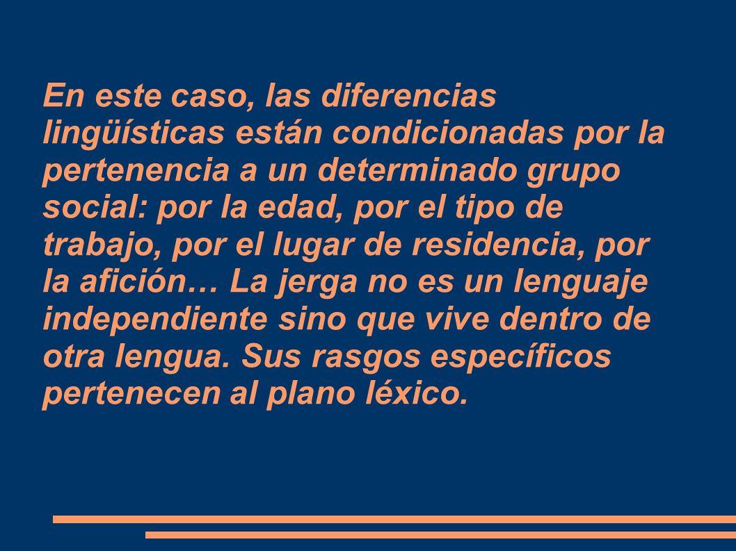En este caso, las diferencias lingüísticas están condicionadas por la pertenencia a un determinado grupo social: por la edad, por el tipo de trabajo, por el lugar de residencia, por la afición… La jerga no es un lenguaje independiente sino que vive dentro de otra lengua.