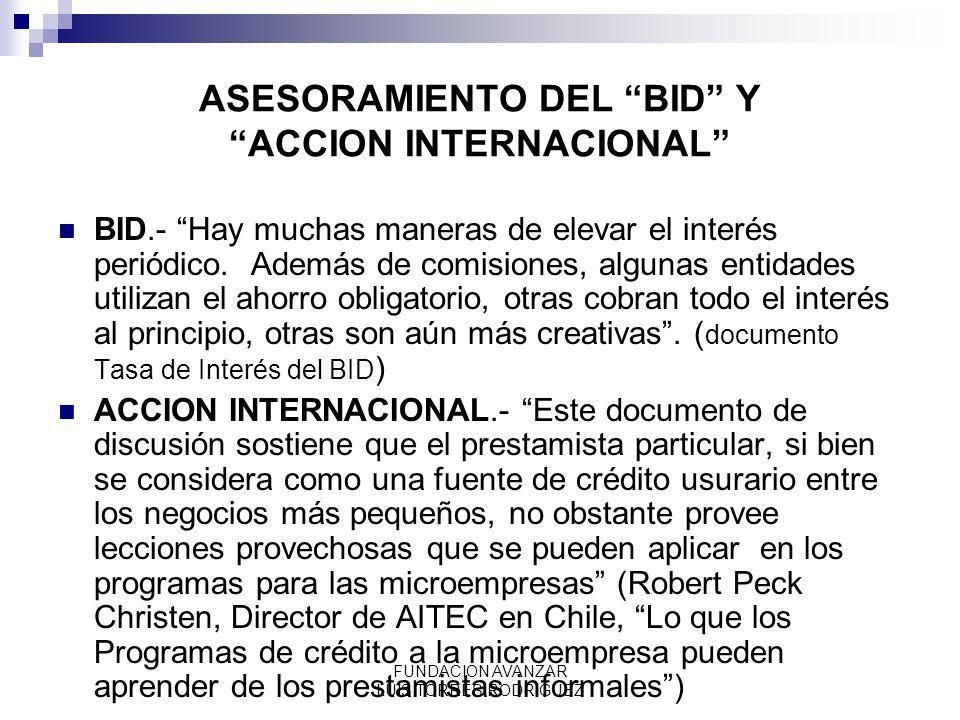 ASESORAMIENTO DEL BID Y ACCION INTERNACIONAL