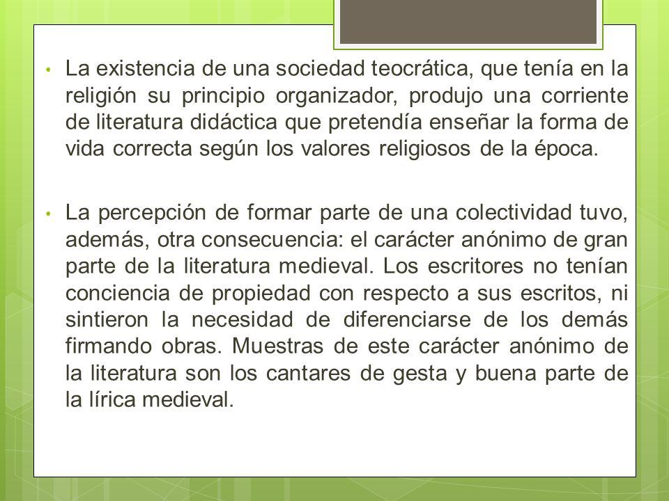 La existencia de una sociedad teocrática, que tenía en la religión su principio organizador, produjo una corriente de literatura didáctica que pretendía enseñar la forma de vida correcta según los valores religiosos de la época.