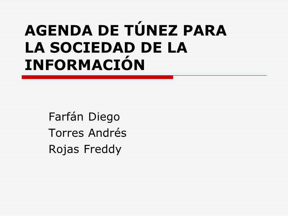 AGENDA DE TÚNEZ PARA LA SOCIEDAD DE LA INFORMACIÓN