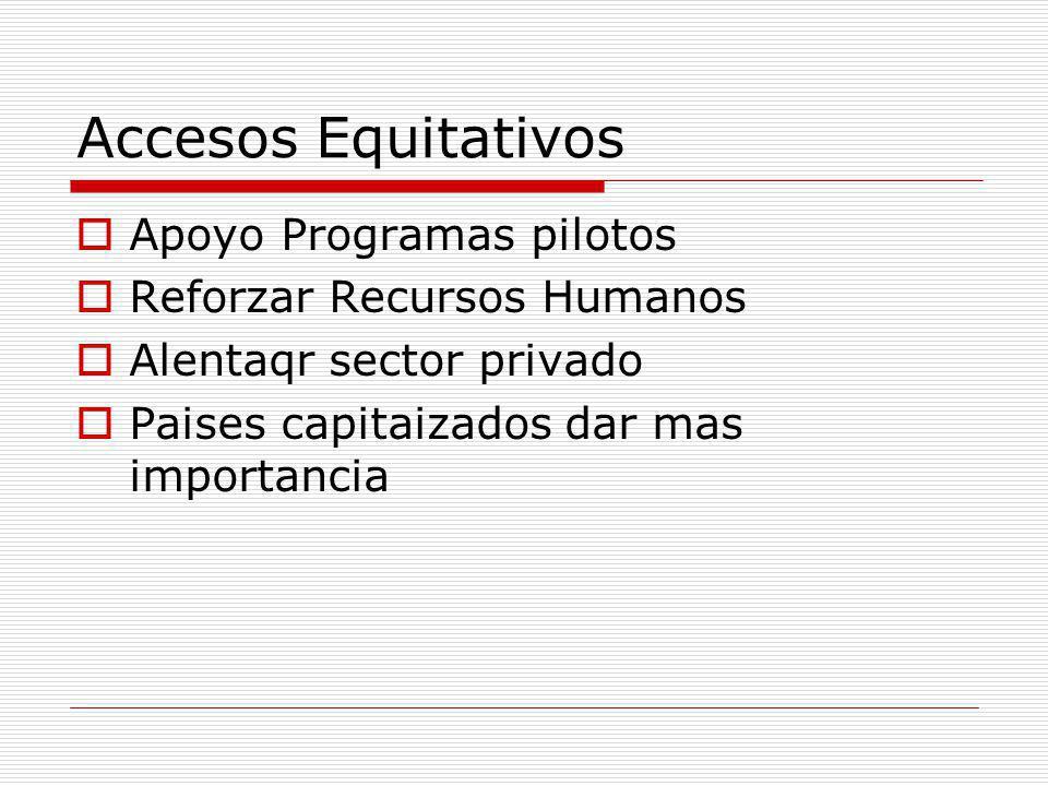 Accesos Equitativos Apoyo Programas pilotos Reforzar Recursos Humanos
