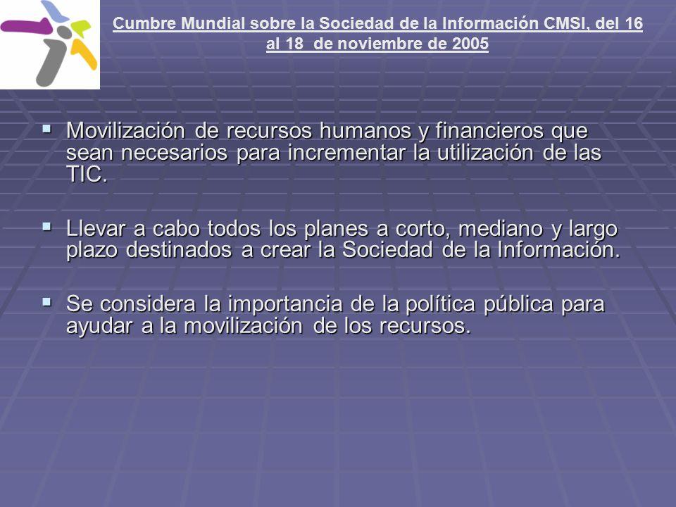 Cumbre Mundial sobre la Sociedad de la Información CMSI, del 16 al 18 de noviembre de 2005