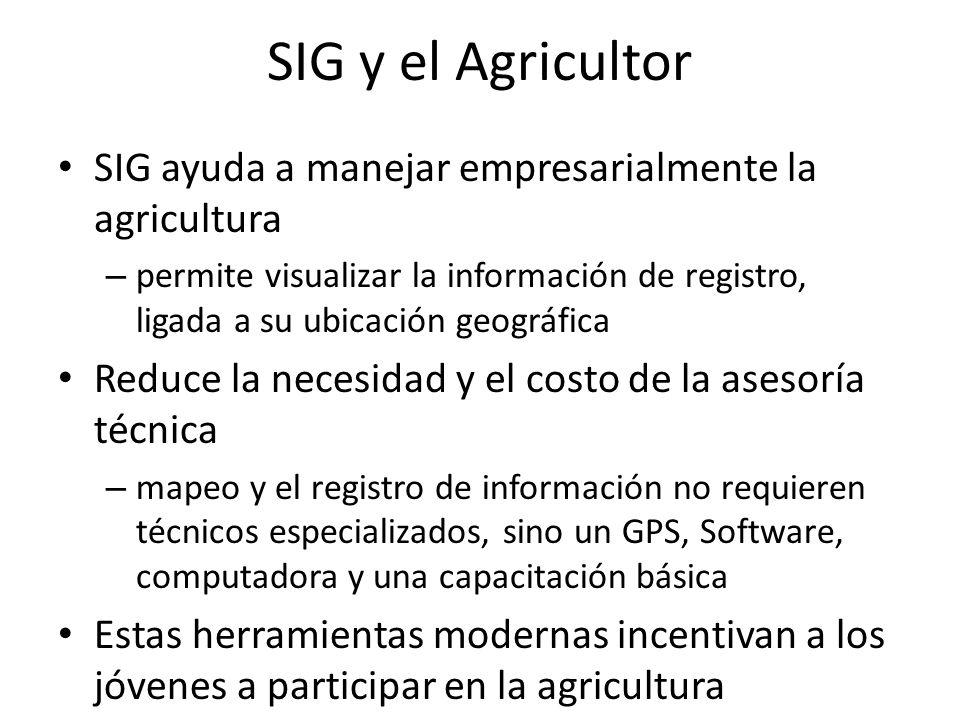 SIG y el Agricultor SIG ayuda a manejar empresarialmente la agricultura.