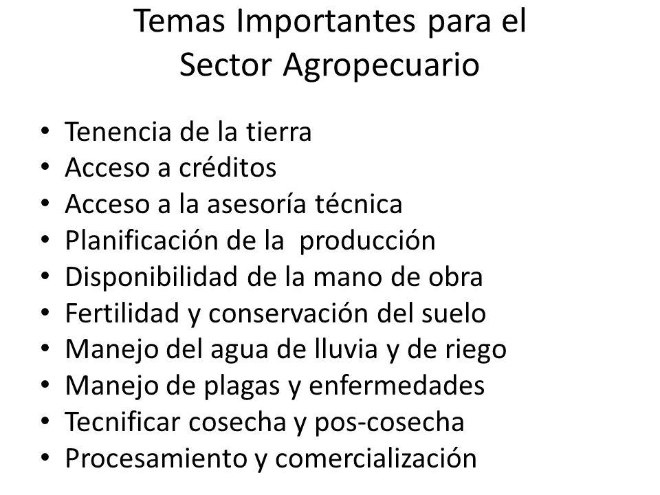 Temas Importantes para el Sector Agropecuario
