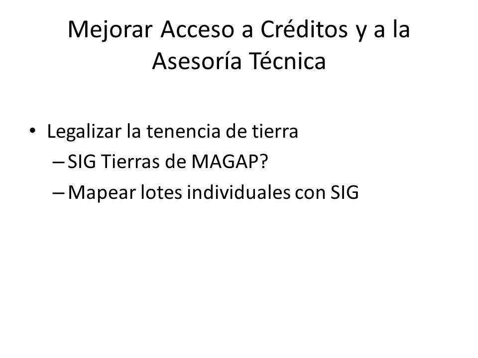 Mejorar Acceso a Créditos y a la Asesoría Técnica