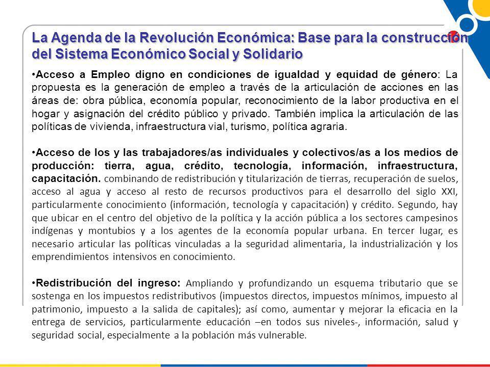 La Agenda de la Revolución Económica: Base para la construcción del Sistema Económico Social y Solidario