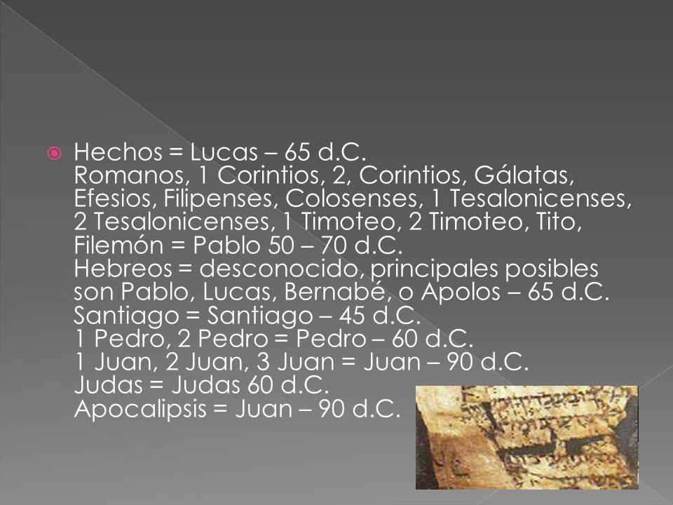 Hechos = Lucas – 65 d.C.