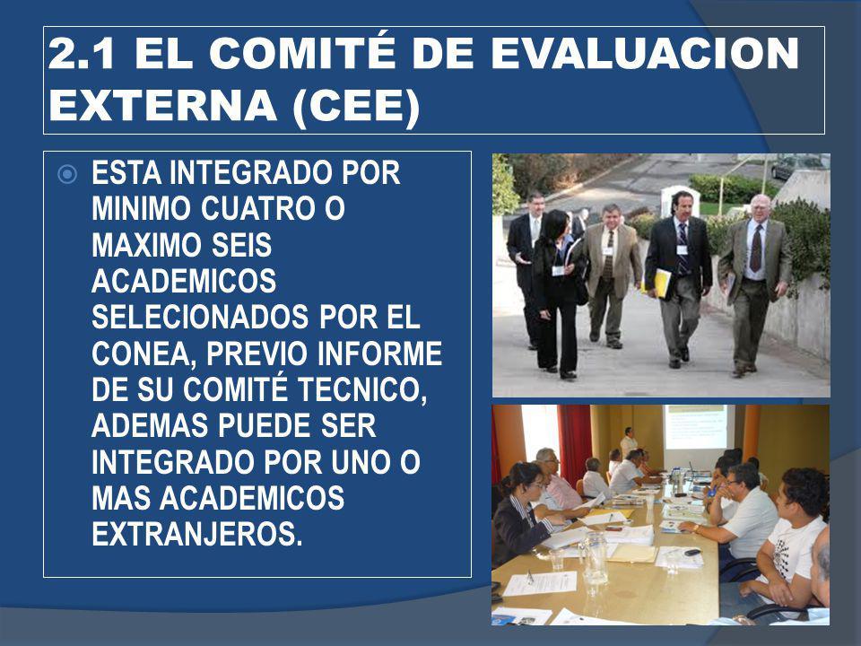 2.1 EL COMITÉ DE EVALUACION EXTERNA (CEE)