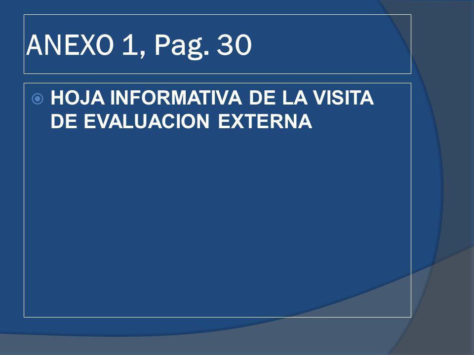 ANEXO 1, Pag. 30 HOJA INFORMATIVA DE LA VISITA DE EVALUACION EXTERNA